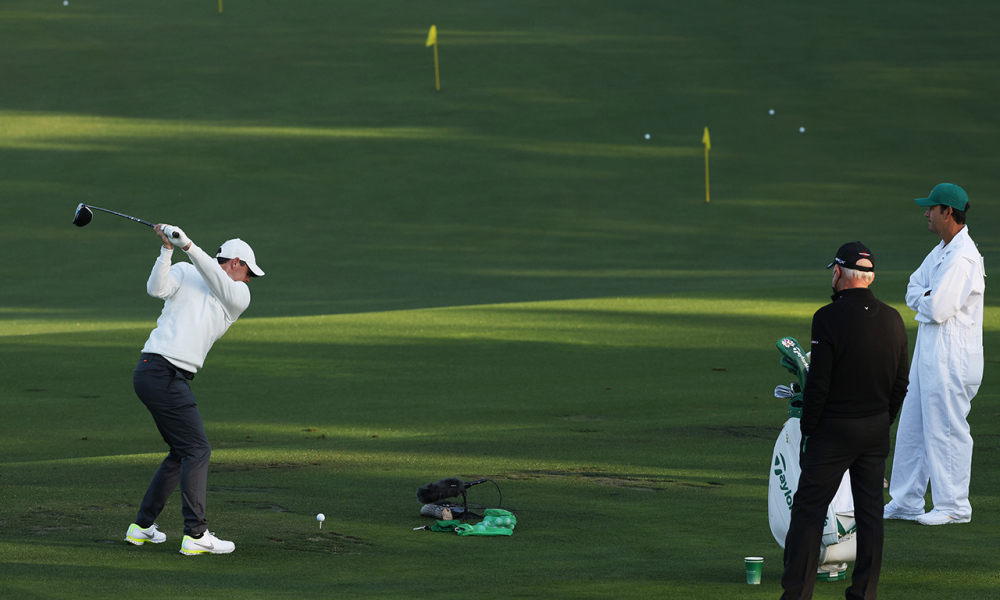 Rory McIlroy wearing the Nike Air Zoom Victory Tour 2 at the 2021 Masters