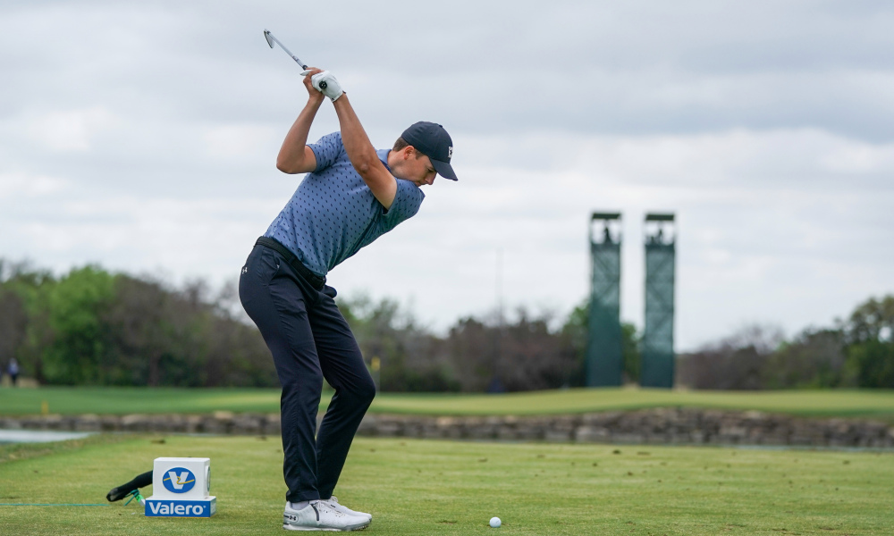 Jordan wearing the Under Armour Spieth 5 SL shoes at the 2021 Valero Texas Open
