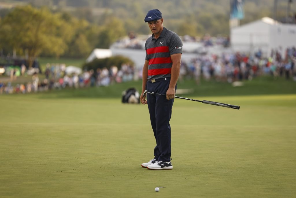 Bryson at the BMW Championship wearing the PUMA IGNITE PWRADAPT caged golf shoe